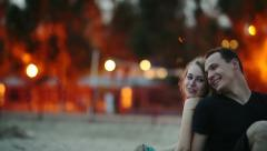 Couple at Evening Beach Stock Footage