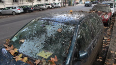 Two cars covered in bird pooh Stock Footage