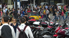 Spain Catalonia Barcelona Crowds Busy Bustle hectic Traffic Stock Footage