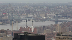 Aerial View New York City Cityscape NYC Manhattan Williamsburg Bridge Cloudy Day Stock Footage