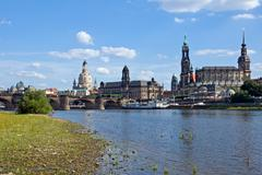Dresden from the shore of the Elbe - stock photo