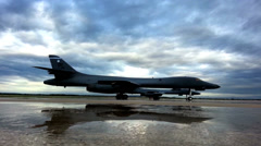 Rockwell B-1 Lancer at Dyess AFB - stock footage