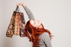 cute shopper. - stock photo