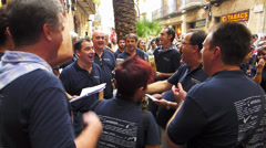 Spain Catalonia Barcelona downtown old town Spanish patriot singing - stock footage