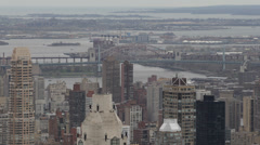New York City Skyline Aerial View Robert F. Kennedy Triborough Bridge Hell Gate Stock Footage