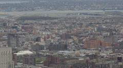 NYC New York City Queens Skyline Aerial View LaGuardia Airport Airplane Land Day - stock footage