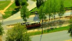 Old tram rides to stop. Top view. Timelapse Stock Footage
