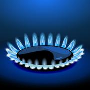 Flames of gas stove in the dark. vector Stock Illustration