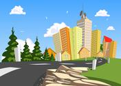 Stock Illustration of vector city surrounded by nature landscape