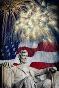 Abraham lincoln fireworks Stock Illustration
