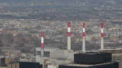 Industrial Ravenswood Generating Station Skyline Aerial View New York City NYC Stock Footage