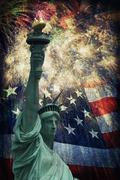 Statue of liberty &  fireworks Stock Illustration
