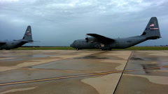 C130 Hercules taxi for takeoff - stock footage