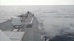 destroyer USS James E. Williams Firing its Gun - stock footage
