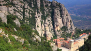 Stock Video Footage of Montserrat mountain and abbey.