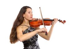 beautiful violinist - stock photo