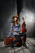 Beautiful violinist musician Stock Photos