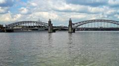 Bolsheokhtinsky bridge on Neva river in Saint Petersburg, Russia Stock Footage