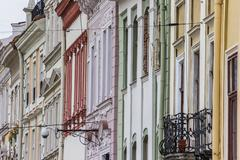 detail of houses at the market square of lviv - stock photo