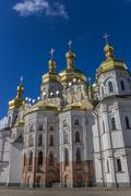 cathedral with golden domes in the kiev pechersk lavra - stock photo