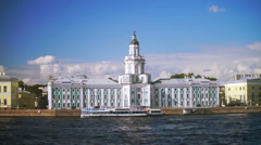 Kunstkamera museum and University embankment in Saint Petersburg, Russia Stock Footage