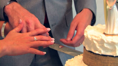 Close up of Bride and Groom cutting wedding cake Stock Footage