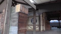 Cowboy running, train depot Stock Footage