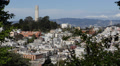 Aerial View Coit Tower Busy Lombard Street San Francisco City Skyline Daylight Footage