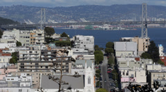 Aerial View Francis Assisi Church Oakland Bay Bridge Vallejo Street Houses Roofs Stock Footage