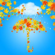umbrella from autumn leaves under cloud and rain - stock illustration
