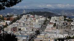 Aerial View Green Union Street Yerba Buena Isle Oakland Bay Bridge San Francisco Stock Footage