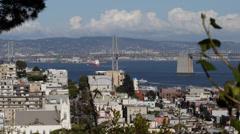 Aerial View San Francisco Oakland Bay Bridge Vallejo Street Houses Building Roof Stock Footage
