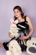 Portrait of a beautiful pregnant  - stock photo