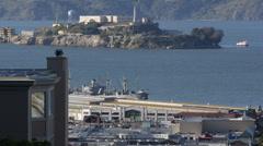 Famous Alcatraz Island San Francisco Bay Former Prison Ruins Tour Boat Ship Trip Stock Footage