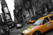 Stock Photo of New York City Yellow Cabs B/W Artwork