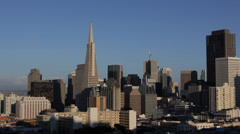 San Francisco Skyline Transamerica Pyramid Famous Architecture Office Towers USA Stock Footage
