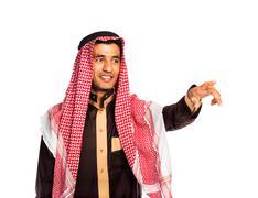 Arab man pressing virtual button on white Stock Photos