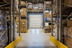 loading dock in warehouse - stock photo
