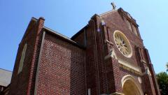 Old Brick Church with tilt Stock Footage