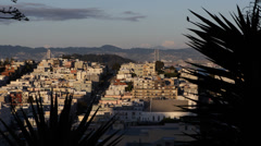 Aerial View Sunset San Francisco Skyline California Oakland Bay Bridge Busy City - stock footage