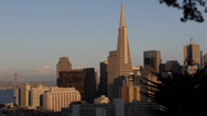 Stock Video Footage of Golden Sunset Panoramic View Downtown San Francisco Skyline Tallest Skyscrapers