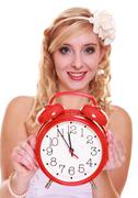 Wedding concept. time to get married. bride with clock. Stock Photos