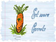 funny carrot cartoon on blue background - stock illustration