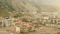 Aerial view of earthquake devesation - stock footage