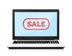 Laptop with sale Stock Illustration