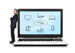 Laptop with computer network Stock Photos
