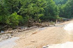 debris after flood - stock photo