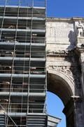 Arc, Restructuring Ancient Monument, Rome - stock photo