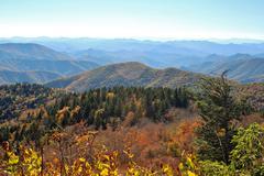 Endless sunny autumn mountain range Stock Photos