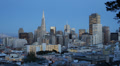 Aerial View Cityscape Dusk Lit Night Transamerica Pyramid Building San Francisco Footage